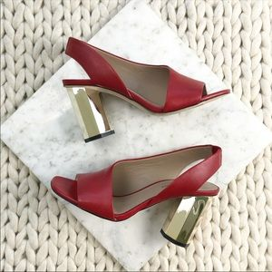 Donald Pliner Red D'orsay Gold Cutout Heels